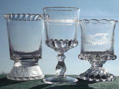 lot antique EAPG glass spooners or celery vases, pressed lion glass etc.