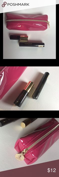 """New YSL Set Case Volume Mascara & Lip Vinyl Stain Brand new mini YSL set.  Never opened/never tested. Set includes Yves Saint Laurent: 1 Mascara Volume Effet Faux Cils 0.06oz Mini; 1 Vernis A Levres Vinyl Cream Creamy Stain for Lips and a super cute YSL Cosmetics Case in a Hot Pink with gold hardware. The case is big enough to fit the other two items with room to go! Case is approximately 5.5""""L x 2"""" H x 2.5""""W.  All items are brand new!  Bundle and save! Yves Saint Laurent Makeup Eyeshadow"""