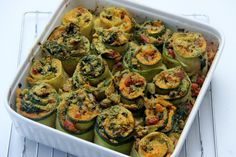 Baked Zucchini Rolls are zucchini strips filled with sweet potatoes and vegetables for a hearty delicious plantbased (vegan and vegetarian) dinner.