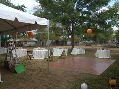 Set up of tables and food tent