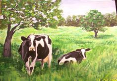 Cows in a field original artwork painting farm landscape SOLD THANKS! Original Paintings For Sale, Original Artwork, Canvas Paper, Cows, Landscape Paintings, Architecture Design, My Arts, The Originals, Studio