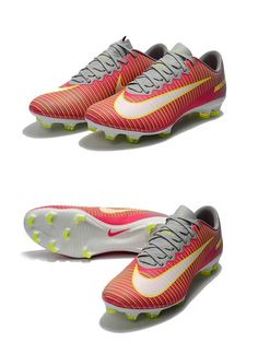 Pink Mens Nike Mercurial Synthetic leather upper with embossed horizontal  ridges for more control.Firm