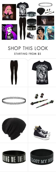 """punk disney inspired"" by panda-donut ❤ liked on Polyvore featuring Disney, New Look, Topshop, Hot Topic, Coal and Converse"
