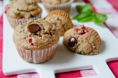 Strawberry Basil Chocolate Chip Muffins