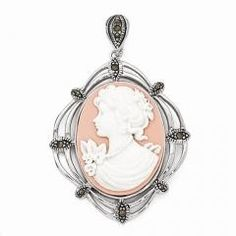 Sterling Silver Marcasite Cameo Pendant http://patchesdreamjewelry.com/necklaces/cameo-necklaces/sterling-silver-marcasite-cameo-pendant.html