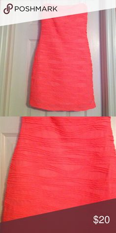 Neon Pink Strapless Dress Polyester, stretchy. Worn once for school dance. In brand new condition. Deb Dresses Strapless