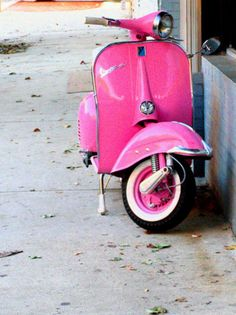 gonna have to start commuting to work on this pink vespa instead