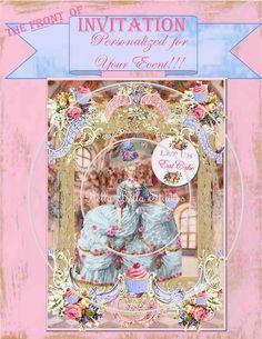 MARIE ANTOINETTE - Let Them Eat Cake - Party Invitation - Customized Printable - Bella Bella Studios - Etsywishlist