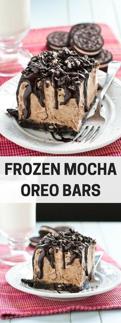 These Frozen Mocha Oreo Bars are a great summer dessert loaded with rich chocolate and coffee flavor! (Chocolate Desserts Bars) - Another! Ice Cream Desserts, Köstliche Desserts, Frozen Desserts, Chocolate Desserts, Chocolate Chocolate, Chocolate Fondue, Dessert Recipes, Organic Chocolate, Flourless Chocolate