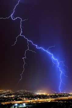 "Lightning: ""Touchdown in Tuscon' - photo by Mike Olbinski Photography, via Flickr"