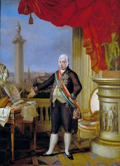 Prince Regent John with a bust of his mother Maria I (Sequeira, 1802)