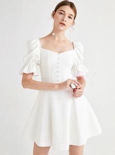 Dresses Skater Dresses Brief V-neck Puff Sleeve Slim Skater Dress Simple Dresses, Casual Dresses, Short Dresses, Fashion Dresses, Summer Dresses With Sleeves, Pretty Outfits, Pretty Dresses, Beautiful Dresses, Lace Gown Styles