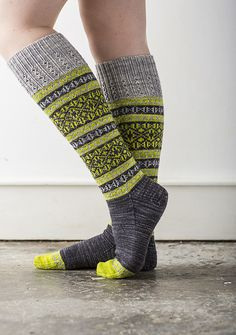 Talia pattern by Rachel Coopey. I like the subtle color shifts in these stranded socks! Lots of visual interest without jarring one's eyes! Crochet Socks, Knitting Socks, Hand Knitting, Knit Crochet, Chrochet, Lots Of Socks, My Socks, High Socks, Creation Couture