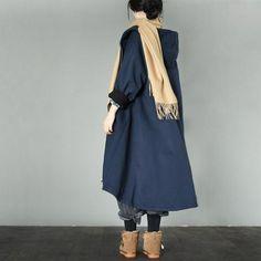 Blue Warm Winter Hood Casual Loose Fleece Coat Women Tops W760