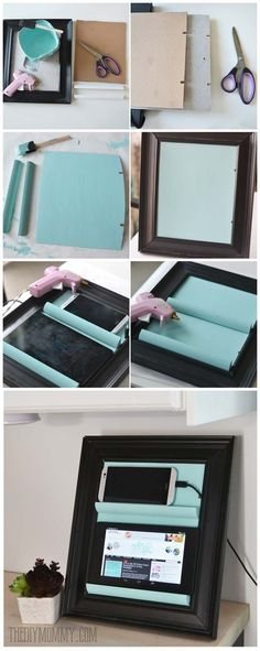 DIY Gifts for Teens - Tablet Holder from a Picture Frame - Cool Ideas for Girls and Boys, Friends and Gift Ideas for Teenagers. Creative Room Decor, Fun Wall Art and Awesome Crafts You Can Make for Presents http:diy-gifts-for-teens Diy Crafts For Teen Girls, Arts And Crafts For Teens, Girls Fun, Kids Diy, Art Ideas For Teens, Cool Wall Art, Ideias Diy, Gifts For Teens, Teen Gifts
