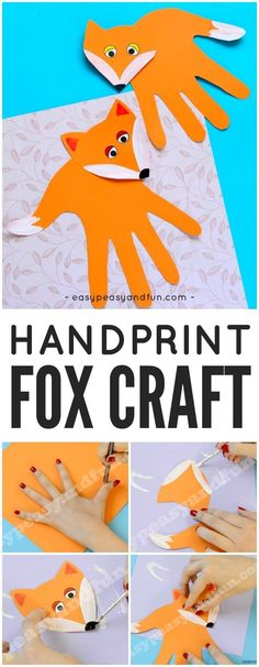 A sweet and easy fall craft for kids- a handprint fox! A great idea for a campin… A sweet and easy fall craft for kids- a handprint fox! A great idea for a camping unit, animal fall unit or the Letter of the Week H with preschool and kindergarten kids! Fall Crafts For Toddlers, Easy Fall Crafts, Animal Crafts For Kids, Toddler Crafts, Preschool Crafts, Diy For Kids, Kids Fun, Craft Kids, Kids Crafts