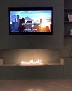 Fireplace Feature Wall, Modern Fireplace, Fireplace Wall, Living Room With Fireplace, Fireplace Design, Indoor Fireplaces, Bioethanol Fireplace, Tv Wall Design, House Design