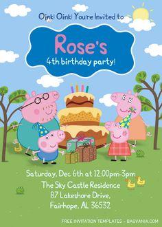 Invitacion Peppa Pig, Cumple Peppa Pig, Peppa Pig Birthday Invitations, Free Birthday Invitation Templates, Disney Invitations, Peppa Pig Teddy, 4th Birthday Parties, Birthday Ideas, 3rd Birthday