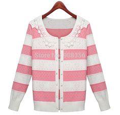 2016 New Autumn Spring Women Stripe Lace Collar Cardigan Sweater Knitted Coat  Fashion Winter Women Sweater Outwear O0159