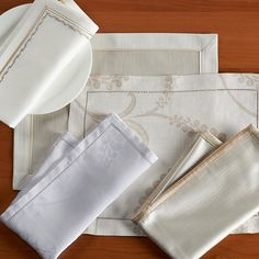 """""""Avignon"""" pure yarn dyed linen """"Sting"""" Luxurious satin with a subtle texture """"Metro"""" contemporary embroidery desing"""