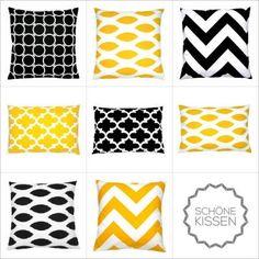Kombinationsmöglichkeiten schwarz-gelb-weiß grafisch
