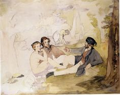 Manet - Studie voor Déjeuner sur l'Herbe, 1862-1863 De picnic, 1862-1863, olie op linnen, Aquarel, grafiet, pen en Chinese inkt. Oxford, Ashmolean Museum of Art.