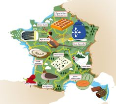 Claudine Panagopoulos - Map illustrating the differnt food terroir of France