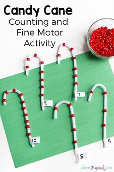 Christmas candy cane counting activity and fine motor practice. A fun Christmas activity for preschoolers!