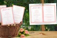 DiY Wedding Fan Program Template - DOWNLOAD Instantly - EDITABLE TEXT - Watercolor Border (Coral Pink) 5 x 7 - Microsoft® Word Format by DiyWeddingTemplates on Etsy https://www.etsy.com/listing/188748770/diy-wedding-fan-program-template