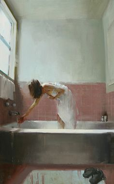 """""""Testing the Waters"""" - Kim Cogan, oil on canvas, 2009 {figurative impressionist art female bending over in tub woman painting} kimcogan.com"""