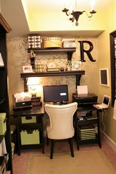 "I love the pattern/stencil on the wall behind the shelves!  ********  If my office space had to be this small, this would be a good way to organize things - or this could simply be a ""computer nook"" or ""work space"" nearby the living room or kitchen, not necessarily an office."