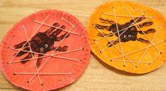 Handprint Spiders in a DIY Lacing Card Web