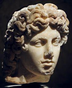 Apollo, head of Roman statue, copy, 2nd century AD, (Kunsthistorisches Museum, Vienna).