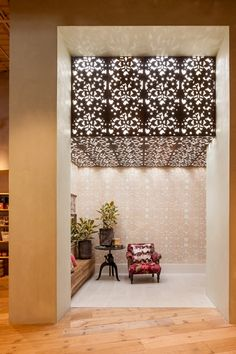 Could cut any design out of sheet metal and affix it to roof with preferred colour light bulbs. Ceiling Detail, Ceiling Design, Architecture Details, Interior Architecture, Decorative Metal Screen, Laser Cut Screens, Interior Styling, Interior Design, Metal Panels