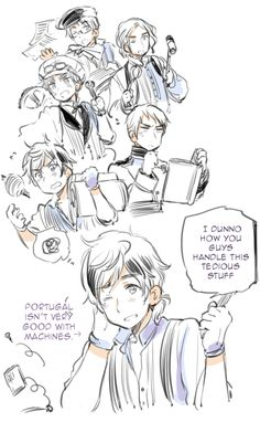 Portugal, Prussia, Spain, France, England, America, Axis Powers Hetalia, Official Art