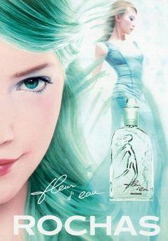 Parfum, fleur d'eau Rochas, couleur vert d'eau