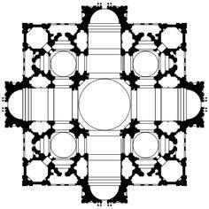 Planta del proyecto de Bramante para San Pedro del Vaticano. 1505. Julio II della Rovere tras el concilio de Letrán (1512), retomó la idea de Nicolás V, de restaurar la basílica de San Pedro. Eligió el proyecto de Bramante después modificado. Se trataba de la realización de un templo de planta centralizada a modo de cruz griega con brazos prolongados y con ábsides salientes inscritos en un cuadrado.