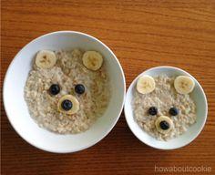 Mommy & Me Oatmeal Breakfast: steel cut oatmeal bananas blueberries
