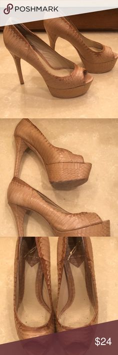 BRIAN ATWOOD Peep-toe Platform Pumps, size 35.5 Well-loved pair of Brian Atwood  'Fontanne' snakeskin-like leather peep-toe platform pumps, in nude, size 35.5 (US 5.5).    Still a lot of life left and may need some leather maintenance - please take a good look at all pics.    Great price, if you have the patience to revitalize!    All our items are guaranteed authentic and come from a smoke-free, pet-free environment. Brian Atwood Shoes Heels