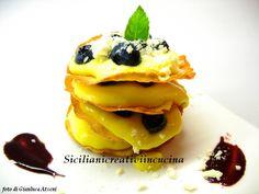 サフランクリームとブルーベリーとCarasauのミルフィーユ | キッチンでクリエイティブなシチリア |