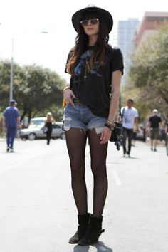 vintage tee + jean shorts + tights + hat ---summer www.junkfoodclothing.com