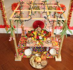 Ganesh pooja without palavelli seems incomplete. In the southern part of India, especially Andra Pradesh it is a tradition to hang the wodden grid called palavelli above Lord Ganesha during Ganesh … Ganpati Decoration Design, Mandir Decoration, Thali Decoration Ideas, Ganapati Decoration, Diy Diwali Decorations, Festival Decorations, Flower Decorations, Decor Ideas, Craft Ideas