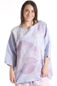 Linen Mariposa Top Printed-Blue Fish Clothing