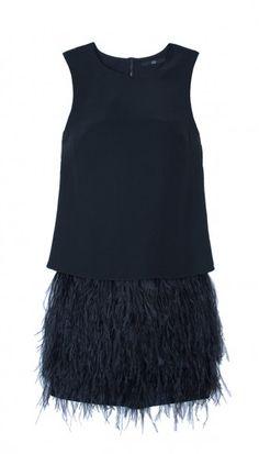 Cera tuxedo feather trim dress. The perfect black dress with attitude.