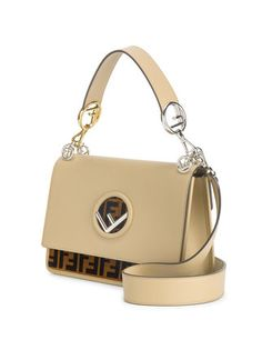 This cream and brown Fendi leather shoulder bag is all you need to perk up your day, but it will take a little effort. Fendi Purses, Fendi Bags, Purses And Handbags, Luxury Handbags, Most Expensive Handbags, Designer Shoulder Bags, Girls Bags, Cute Bags, Leather Shoulder Bag
