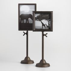 Take your photo collection to a new level with our vintage-inspired square and rectangular frames affixed to telescoping metal stands with knobs for easy height adjustment.