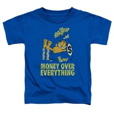 Garfield/Money Is Everything Short Sleeve Toddler Tee in Royal, Toddler Boy's