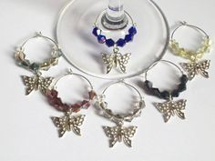 Butterfly Wine Glass Charms Wedding Favors by Michelleshandcrafted, £9.00