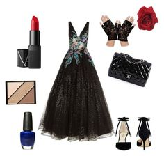"""The night of the ball"" by maddiebelle06 on Polyvore featuring Jovani, Nine West, Chanel, NARS Cosmetics, Elizabeth Arden and OPI"