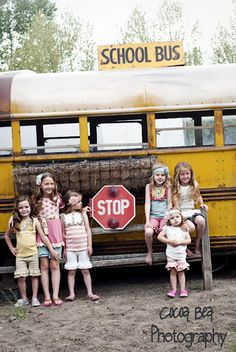 Vintage School Bus and Beautiful little girls